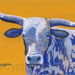 Blueberry Twist    (miniature painting of a rodeo bull) by Cynthia Sampson