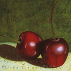 Cherries art tile by Joann Tomsche Studio