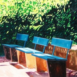 Park Benches in Mainz, #3 (Cat. No. 373) by Merrilee Drakulich Contemporary Paintings