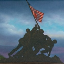 Marine Memorial (Iwo Jima) at Sunset by Karen Mazzarella