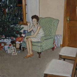Christmas Visit - 4 x 4 - Oil by Kenneth Templeton