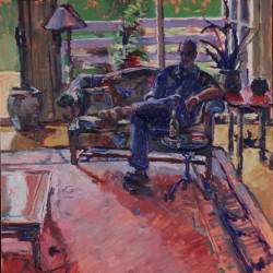 Interior with Man and beer by Valerie Hardy