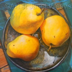 PEARS ON SILVER by Artist Janet Weaver