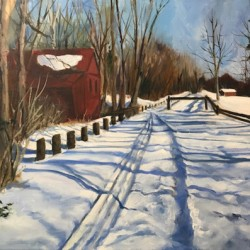 Red Barn from Canal Path by Connie Dierks Fine Art