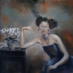 Lady in Blue by Dallas Based Artist: Wenli Liu