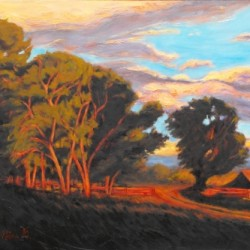 Sundown on the Ranch by Gina Grundemann, Colorado Painter