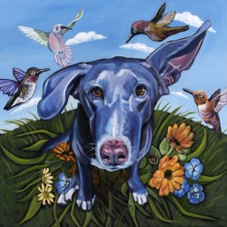 Hummingbirds and Dog by Kathryn Wronski