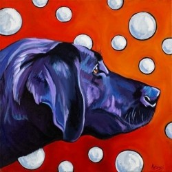 Black Lab and Bubbles by Kathryn Wronski