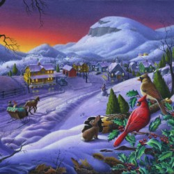 Christmas Sleigh Ride Winter Landscape Oil Painting, Cardinals Country Farm, Small Town Folk Art by Walt Curlee Art