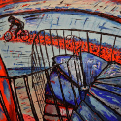Homage to Cartier-Bresson Passing Cyclist by J. Dama... Art