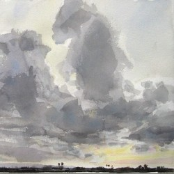 Evening clouds by Tom Hughes Paintings