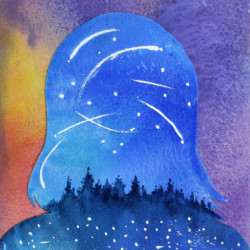 Self Portrait in Shooting Stars and Fireflies by Kate Vikstrom