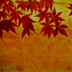 Crimson Maple Leaves Abstract by Jim Lively