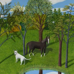 LANDSCAPE WITH HORSE & DOG by Jane Troup