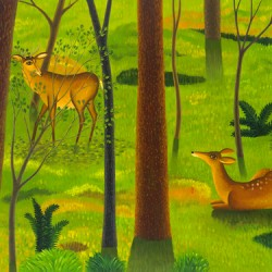 WOODS WITH DEER by Jane Troup