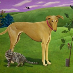 LANDSCAPE with DOG, CAT & BIRDS by Jane Troup