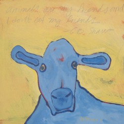 Blue Cow on Yellow by Tomaso Ditomaso