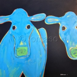 Two Blue Cows  30x30 by Tomaso Ditomaso