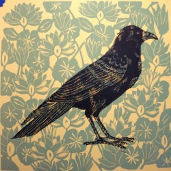 Wallpaper Crow in Green by Julie Sola