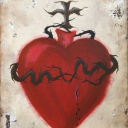Bleeding Heart Mexican Sacred Heart by Jackie González Cerise