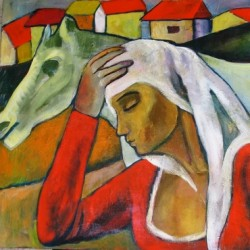 Girl with a Horse by Gloria Dimcheva Webster