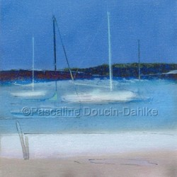 Morro Bay White Sand and Blue Boat by Pascaline Doucin-dahlke