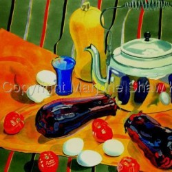 Eggs, Eggplant, Tomatoes & Kettle,  by Marjorie Shaw Kubach