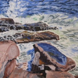 Rocks and Waves by John J.  Abisch - Fine Art