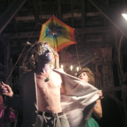 Blue Man With Open Shirt and Rose, from The Circus of Tiny Invisibility, Shepherdstown, WV, 2004 by Benita Keller