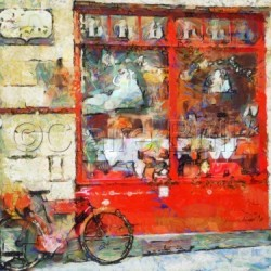 Vintage Red Shop by Claire Bull