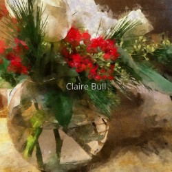 Christmas Flowers in Glass Vase by Claire Bull