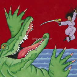 Sea Monster With Ninja by Lynda Mcclanahan