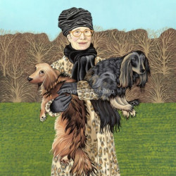 Lindsay With Dogs by Lynda Mcclanahan