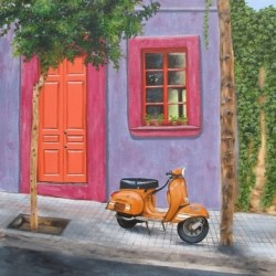 Barcelona Scooter, 2007. Oil on canvas by Jillian Mayles