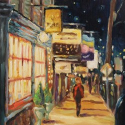Night Stroll with Red Scarf by Jean Childs Buzgo