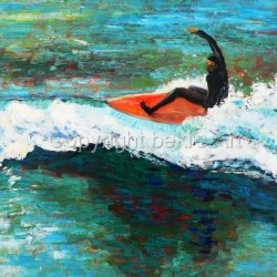 Surfer at Sand Dollar Beach by Bekis Art