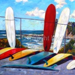 Surfboards at Tourmaline by Bekis Art