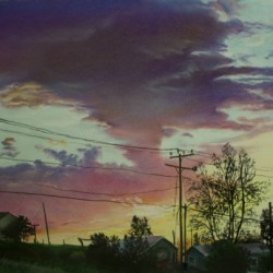 Backyard Sunset by Art By Brittany Kolbe