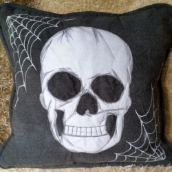 White Skull & Webs on Grey by Raineye Studio