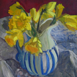 Daffodils in Striped Pitcher by Carol C. Caruso