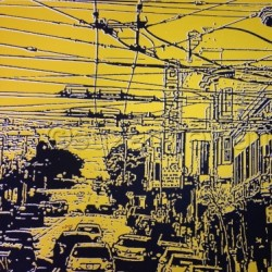 Cable to the Castro Yellow and Black by Suzannewatters