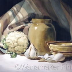 Still Life with Garlic and Jug by Wanamaker Fine Art