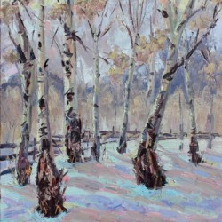 SOLD-Last Dollar Aspens, Winter Light, CO by Terry Ouimet Fine Art