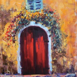 SOLD- Red Doors, Tuscany, Italy by Terry Ouimet Fine Art