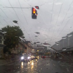 Traffic on a Rainy Day - Yellow Light by Amy Oestlund