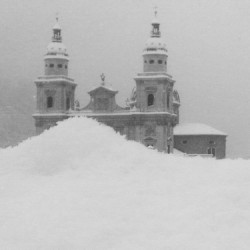 Church covered in snow by Amy Oestlund